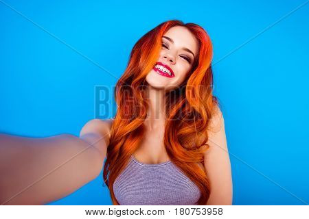 Portrait Of Trendy  Charming Stylish Funny Happy Carefree Girl With Ginger Curly Hair,cute Face And