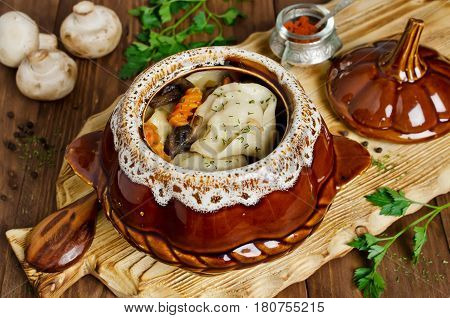Meat dumplings with vegetables in pots. Rustic style