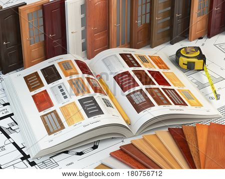 Wooden doors, cataiog with samples of doors and wood samples on the drafts. Interior design and construction concept. 3d illustration