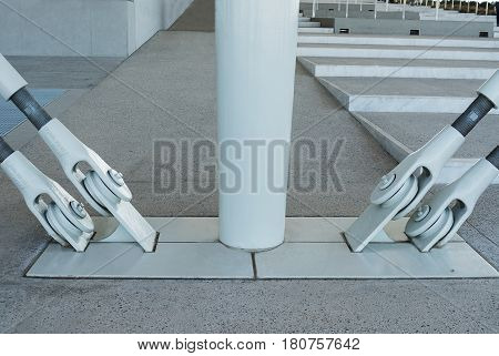 metal white fastening in an architectural building