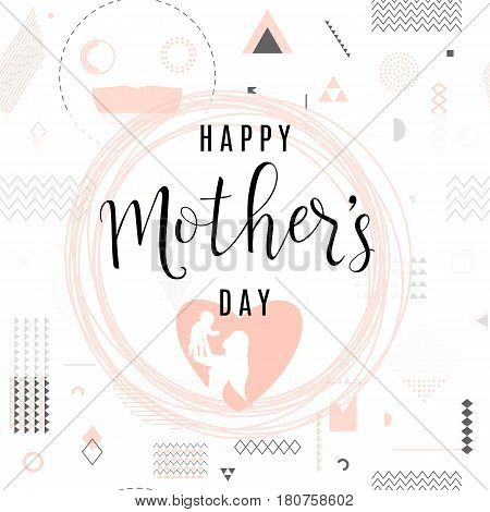 Vector illustration of card for happy mother day holiday greeting with typography text I love you mom on hipster background with triangles, circles, lines, frame, dots