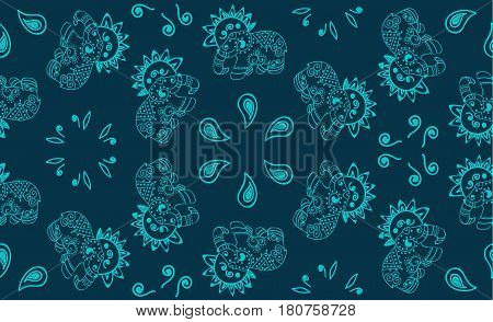Openwork Indian elephant.Turquoise pattern with Paisley and elephants on a blue background