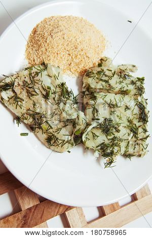 marinated cod willet with dill with herbs