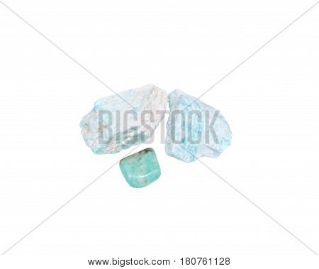 Amazonite chunk from Madagascar and tumbled amazonite from Peru isolated on white background