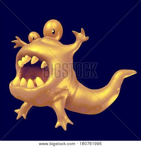 Cartoon orange monster tadpole. 3D illustration. Funny cute emoticon green character.