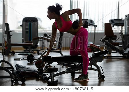 Fitness gym woman strength training lifting dumbbell weights in Bent-over One-Arm Dumbbell Row. Female fitness girl exercising indoor in fitness center.