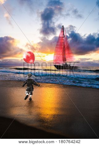A small child holding a red balloon runs towards a dreamy sailboat floating in the ocean