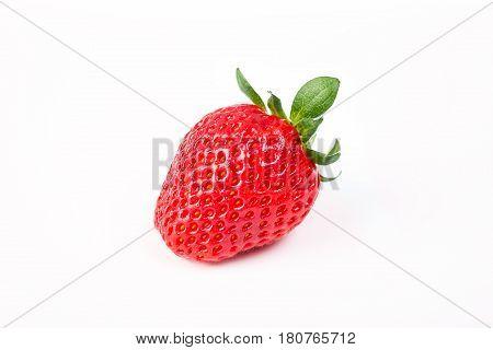 Fresh ripe strawberry isolated on white background.