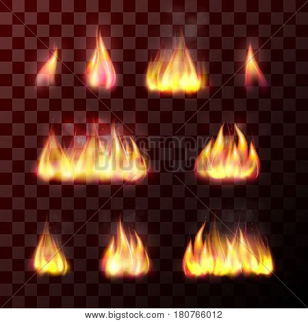 Set of transparent flame effects: hot burn fire, bright bonfire, warm and orange fiery light of burning candle or matches. Realistic design element. Vector illustration isolated on background.