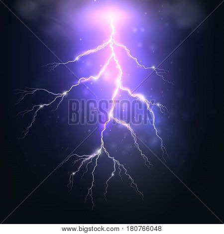 Flash of lightning with shine. Vector illustration with realistic effect of electrical discharge on dark blue background. Weather with storm and thunder