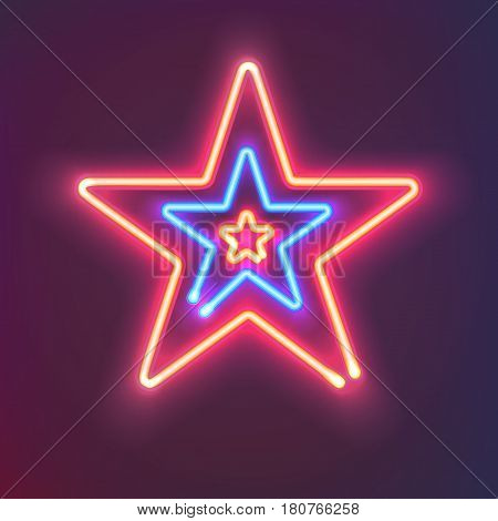 Three shining neon stars with warm and cold light. Mysterious bright sign board for your design. Vector illustration.