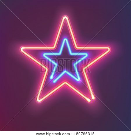 Two shining neon stars with warm and cold light. Mysterious bright sign board for your design. Vector illustration.