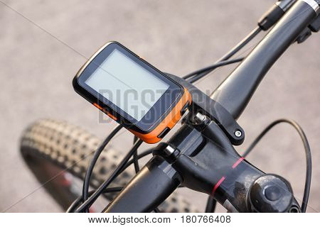 Bike computer installed on a bicycle's handlebar