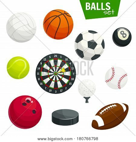 Sport balls vector icons. Isolated sports game items of soccer football, volleyball and handball or basketball, bowling and tennis, gold and pool billiards or rugby, hockey puck and darts arrows