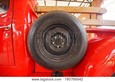 Tire of a pickup truck for design and decoration