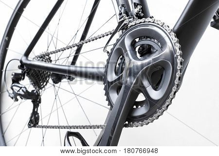 Road bike gear components isolated on white
