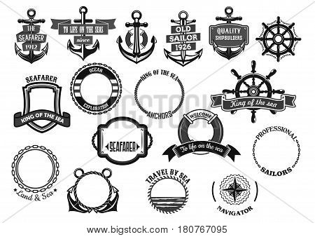 Nautical seafarer and marine sailor heraldic icons. Ship anchor, helm and life buoy, maritime chains and sailing navigation compass with water ribbons for voyager and shipbuilder. Vector symbols set
