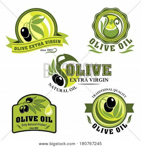 Olive oil product icons of vector green and black olives, bottles and pitchers. Extra virgin olive oil drops for natural organic food store, cooking and cosmetic or pharmaceutical industry