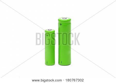 Closeup of rechargeable battery isolated on white