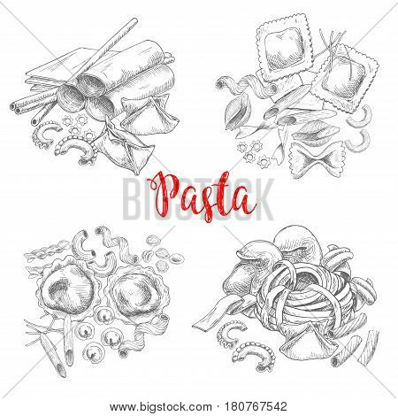 Pasta vector sketch of macaroni and spaghetti, penne and lasagna or traditional tagliatelli and ravioli. Italian cuisine fettuccine or farfalle and pappardelle, konkiloni bucatini and tortiglioni