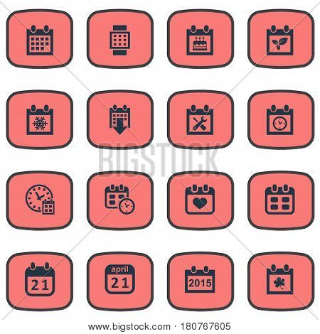 Vector Illustration Set Of Simple Calendar Icons. Elements Agenda, Intelligent Hour, Annual And Other Synonyms Smart, Agenda And Remembrance.