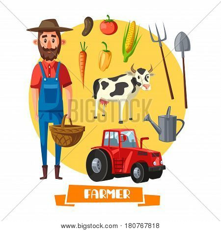 Farmer on farm vector poster. Agriculture and farming profession bearded man with tractor for vegetable harvest, cow cattle and agronomy planting implements of spade and pitchfork with wicker