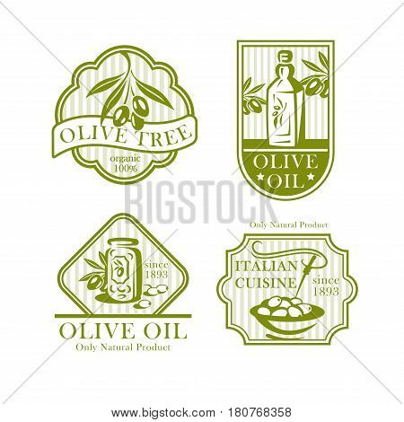 Olive oil labels and icons set. Olive tree branch for Italian cuisine, extra virgin food product packaging. Vector symbols for natural organic food store, cooking or pharmaceutical industry