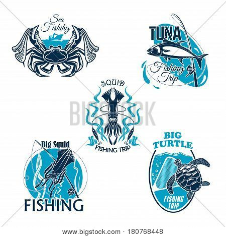 Sea fishing club badges set of fish and seafood. Vector icons of crab lobster and squid, tuna on and turtle. Fisherman catch and tackle of fishing rod, scoop net and hook lure baits