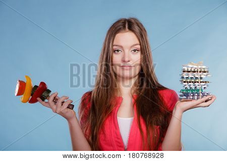 Woman With Diet Weight Loss Pills And Vegetables.