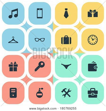 Vector Illustration Set Of Simple  Icons. Elements Business Bag, Hanger, Time And Other Synonyms Tool, Sunglasses And Music.