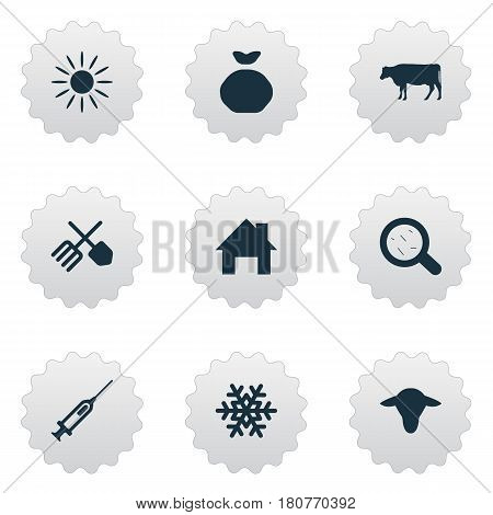 Vector Illustration Set Of Simple Agricultural Icons. Elements Horticulture Equipment, Cow, Snowflake And Other Synonyms House, Ranch And Storage.