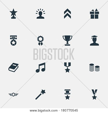 Vector Illustration Set Of Simple Reward Icons. Elements Award, Medal, Honor And Other Synonyms Graduate, Achievement And Shield.