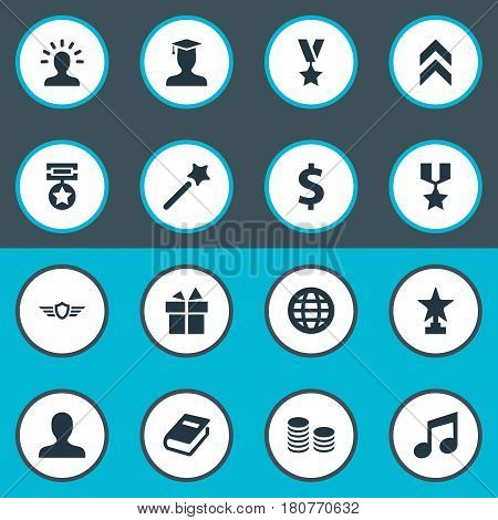 Vector Illustration Set Of Simple Reward Icons. Elements Prize, Literature, Melody And Other Synonyms Student, World And Textbook.
