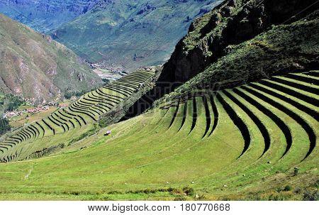 Terraces in Pisac in the Urubamba Valley near Cusco, Peru