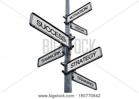 Success concept, the way to success on signpost, isolated on white backgrounds