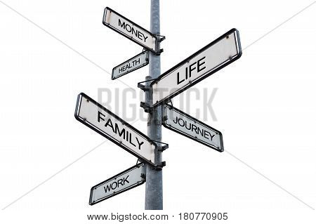 Life balance choices signpost, isolated on white background