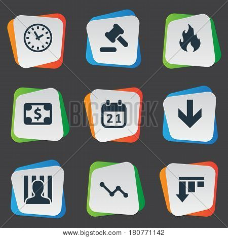 Vector Illustration Set Of Simple Crisis Icons. Elements Penitentiary, Fire, Bankroll And Other Synonyms Diagram, Work And Hammer.