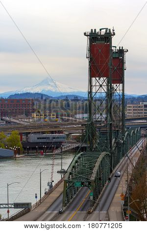 Hawthorne Bridge over Willamette River and Mount Hood view from downtown Portland Oregon