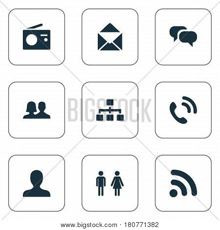 Vector Illustration Set Of Simple Network Icons. Elements Handset, Member, Partner Synonyms Signal, Letter And Mail.