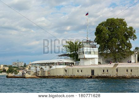 Sevastopol, Russia - June 09, 2016: Memorial sign on the site of the construction of the floating bridge, according to which the last defenders left the city in the days of the First Defense of Sevastopol in 1855