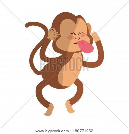Monkey showing tongue cartoon icon over white background. colorful design. vector illustration