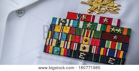 The military ribbons of a US Navy SEAL.