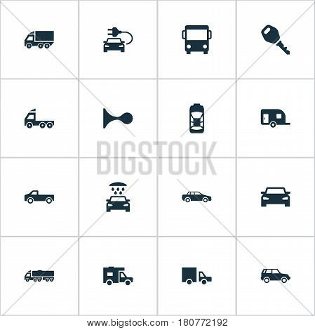 Vector Illustration Set Of Simple Transport Icons. Elements Camion, Shipment, Vehicle And Other Synonyms Hatchback, Auto And Carcase.