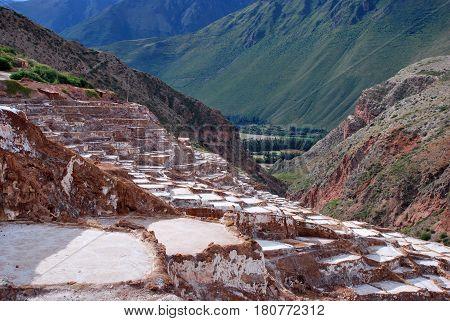 Sal Ponds in Maras in the Urubamba Valley near Cusco, Peru