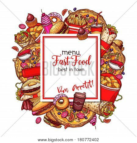 Fast food menu cover for fastfood restaurant. Vector burgers, snacks and desserts of hot dog, pizza. French fries and chicken nuggets wings basket, cheeseburger and hamburger, ice cream or donut