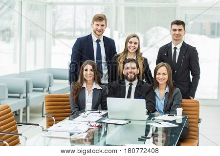 professional business team in the workplace in the office.the photo has a empty space for your text