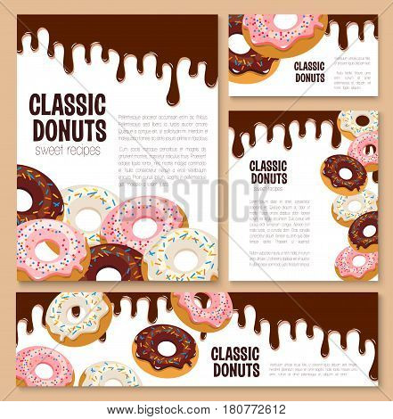Donut templates and recipe posters set for cafe menu. Classic doughnut pastry cake covered with chocolate fondant and caramel glaze or fruit jam filling. Bakery shop or patisserie vector banner