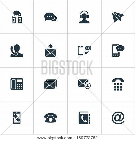 Vector Illustration Set Of Simple Contact Icons. Elements Earpiece, Telephone Directory, Postage And Other Synonyms Chat, Posting And Message.