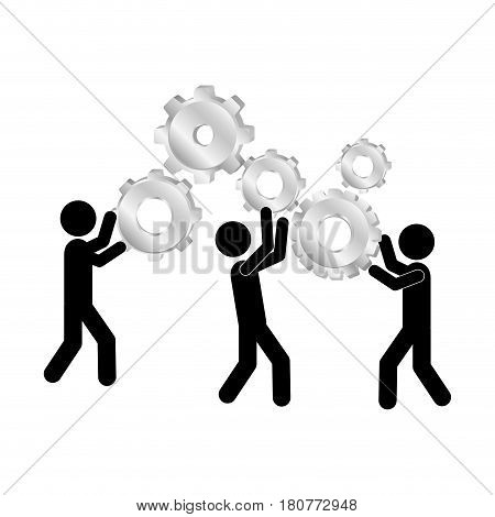 black silhouette pictogram people and industry progress vector illustration