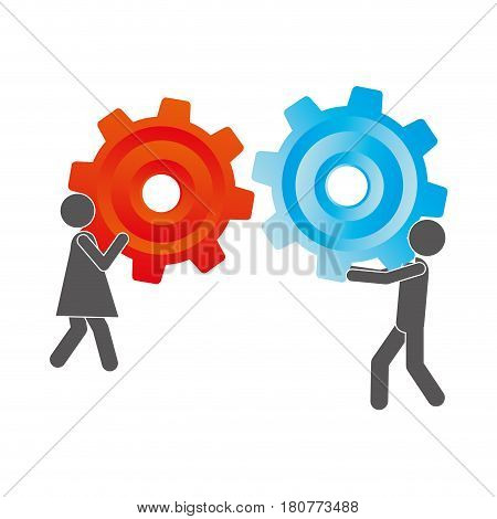 silhouette pictogram man and woman holding a colorful pinions vector illustration